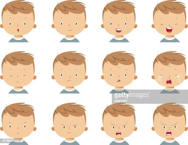 boy face expressions - emotion stock illustrations