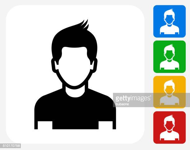 boy face icon flat graphic design - young adult stock illustrations