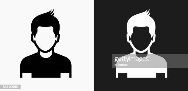 boy face icon on black and white vector backgrounds - teenager stock illustrations