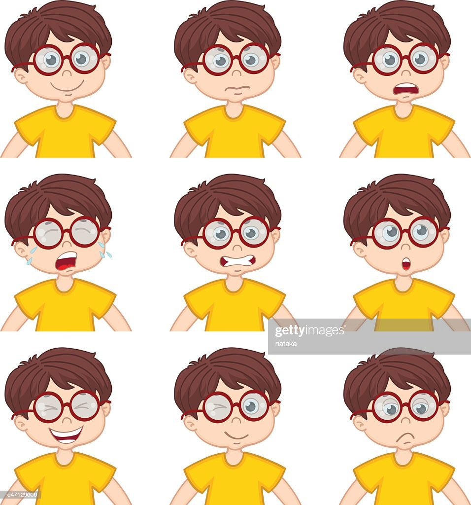 boy faces showing different emotions