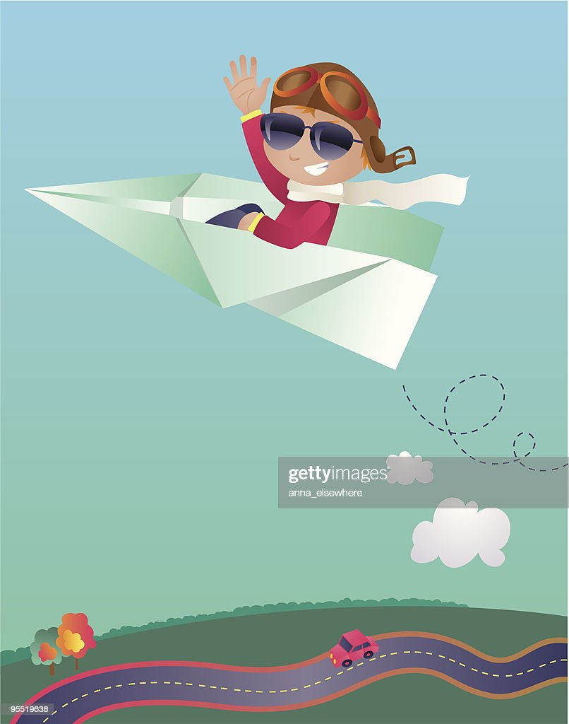Boy flying on a paper plane