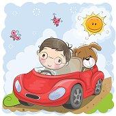 Boy goes on the car