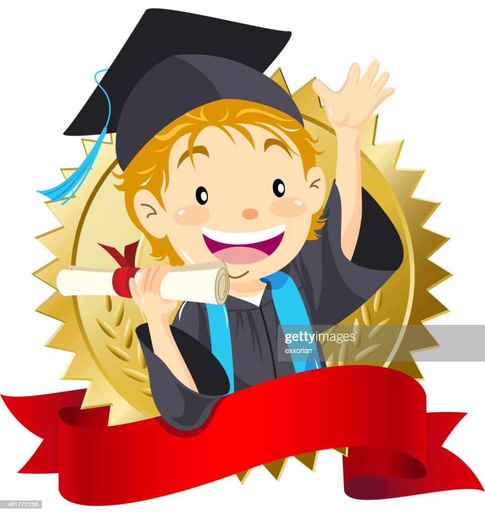 Boy graduate holding diploma : Stock Illustration