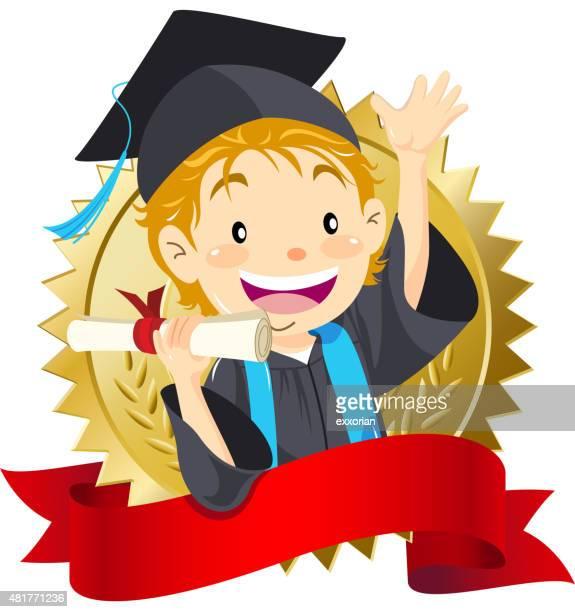 大学院卒業証書を持つ少年