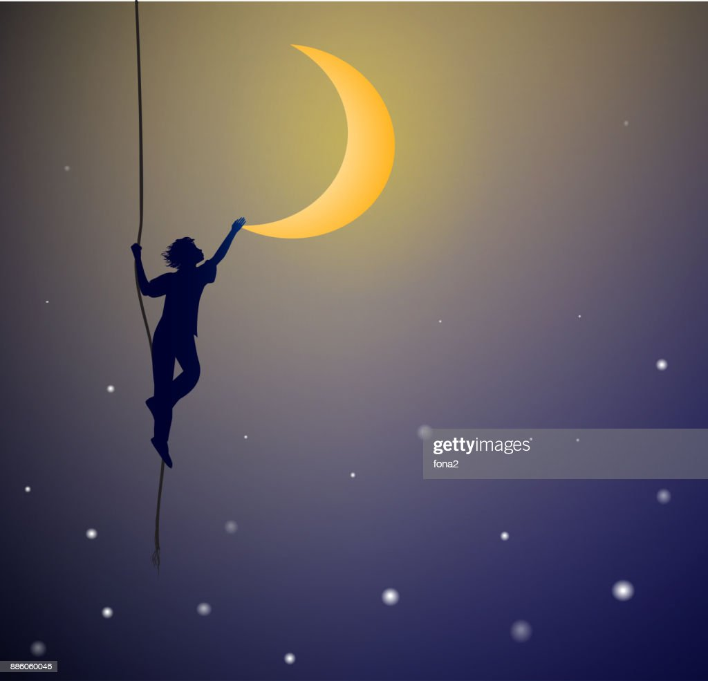 boy hanging on the rope and touching the moon, on the heavens, dream,