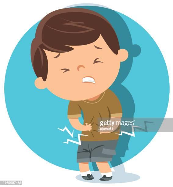 ilustrações, clipart, desenhos animados e ícones de o menino tem a dor de estômago - estômago