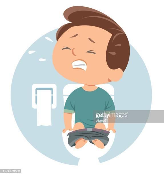 illustrazioni stock, clip art, cartoni animati e icone di tendenza di ragazzo con diarrea - emorroidi