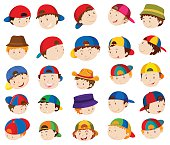 Boy heads with facial expressions