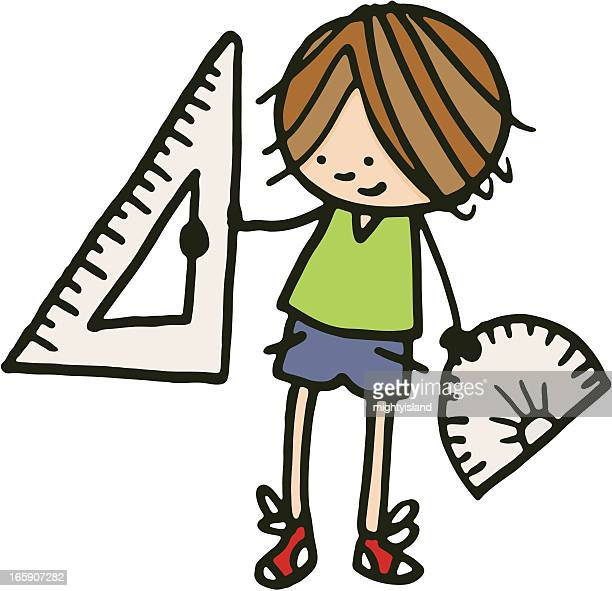 Boy holding a protractor and set square