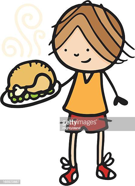 ilustraciones, imágenes clip art, dibujos animados e iconos de stock de boy organizar una comida de pollo asado - pollo asado