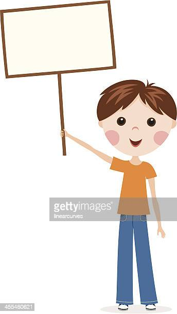boy holding a sign - holding up sign stock illustrations