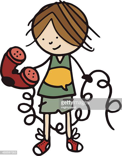 boy holding a telephone with long curly cable - phone cord stock illustrations, clip art, cartoons, & icons