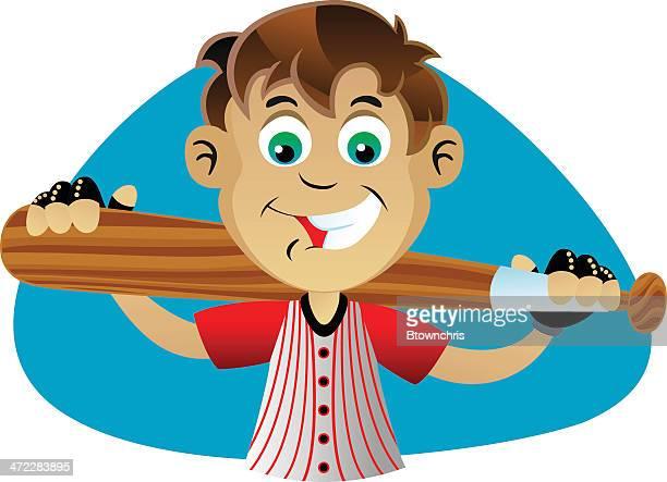 boy holding bat - sports organization stock illustrations, clip art, cartoons, & icons