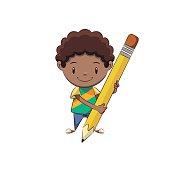 Boy holding big pencil