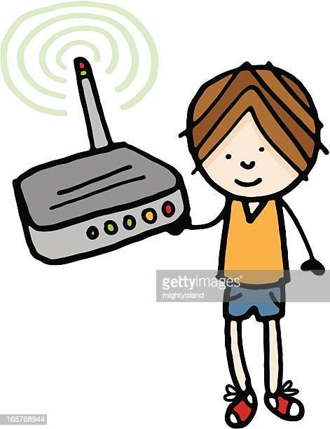 Garçon tenant la boîte à Internet sans fil