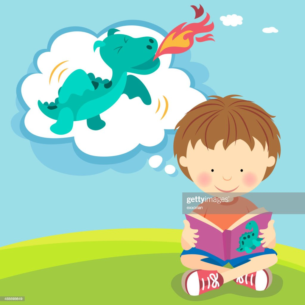 Boy imagining fire breathing dragon from book : stock illustration