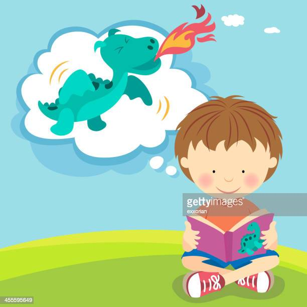 Boy imagining fire breathing dragon from book