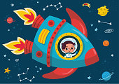 Boy in a rocket journey to space.