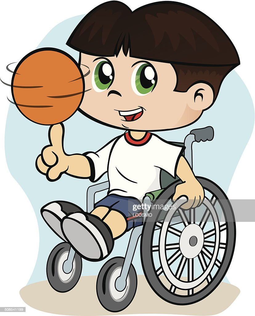 Boy in a wheelchair playing sports