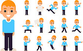 Boy in Different Poses and Actions Teen Characters Icons Set Isolated Flat Design Vector Illustration