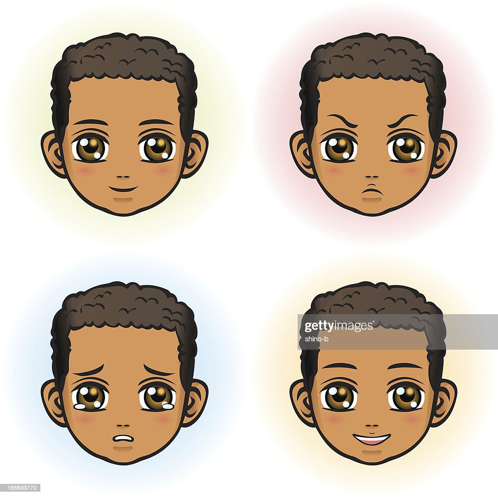 Boy in four facial expression (African Descent)