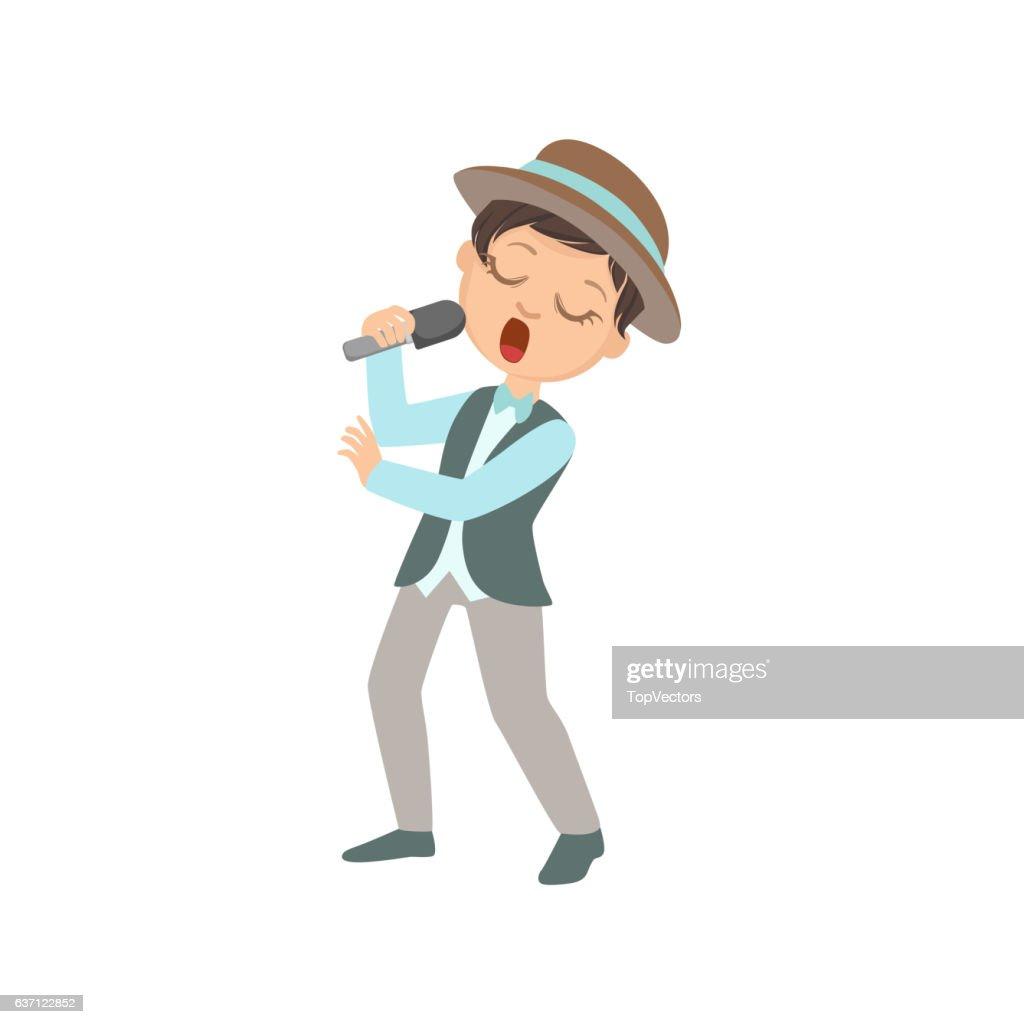 Boy In Hat Singing In Karaoke