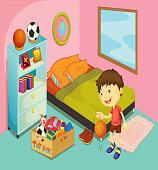 Boy in his bedroom