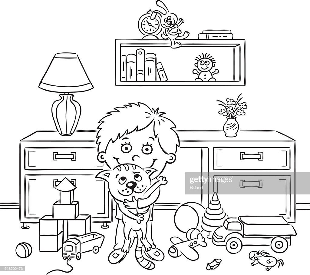 Boy in his room, black and white