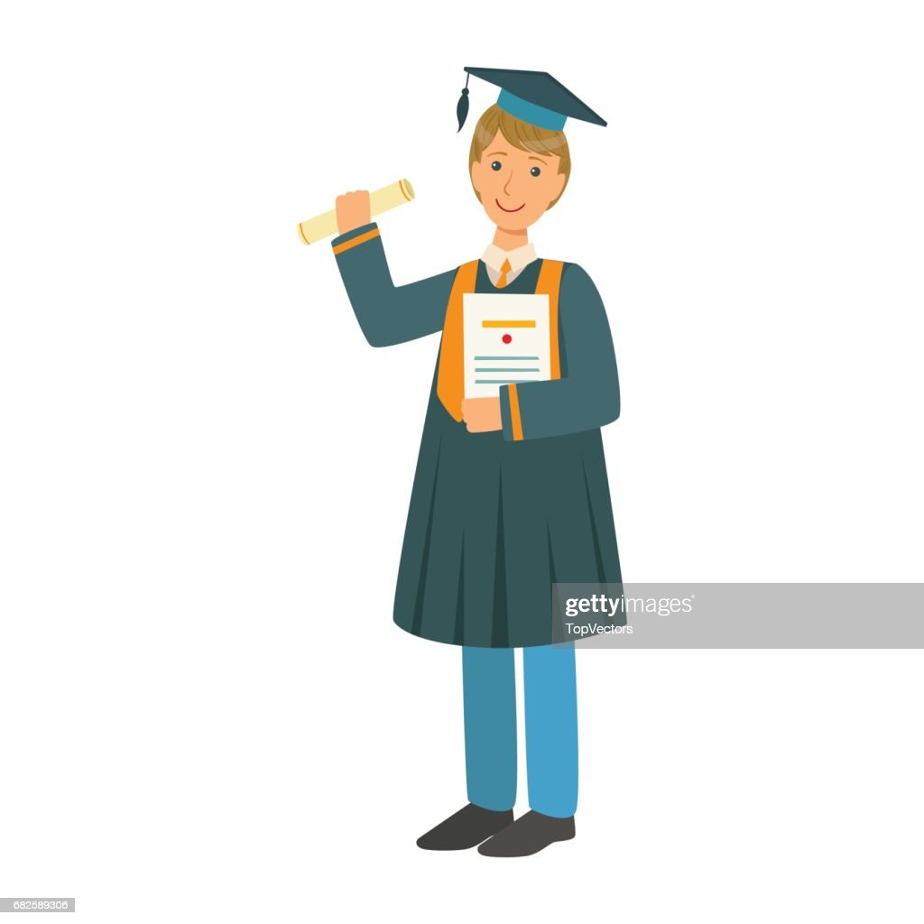 Boy In Mantle Gown And Academic Square Cap Holding Diploma Scroll ...