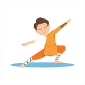 Boy In Shaolin Monk Orange Clothes Doing Meditative Tai Chi Exercise On Karate Martial Art Sports Training Cute Smiling Cartoon Character