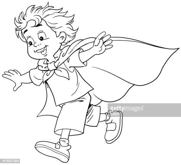 stockillustraties, clipart, cartoons en iconen met jongen in superheld kostuum - menselijk hoofd