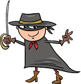 boy in zorro costume cartoon