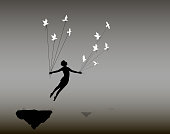 boy is flying rock and holding pigeons on flying rock, little prince, fly in the dream, shadows, life on flying rock,