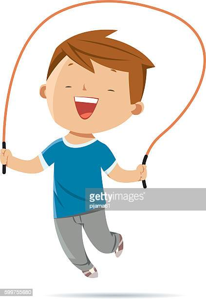 boy jumping rope - jumping stock illustrations