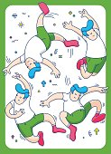 boy jumping, vector illustration of happy jumping kids playing on white background, fun sport
