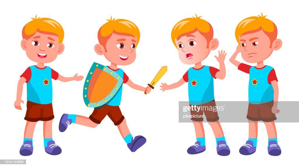 Boy Kindergarten Kid Poses Set Vector. Character Playing. Childish. Casual Clothe. For Presentation, Print, Invitation Design. Isolated Cartoon Illustration