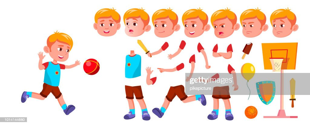 Boy Kindergarten Kid Vector. Animation Creation Set. Face Emotions, Gestures. Emotional Character Playing. Playground. For Banner, Flyer, Web Design. Animated. Isolated Cartoon Illustration