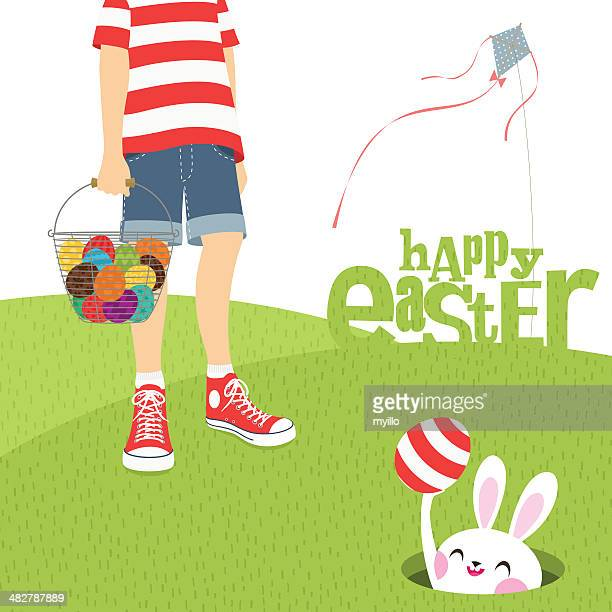 boy kite and easter bunny - easter bunny stock illustrations