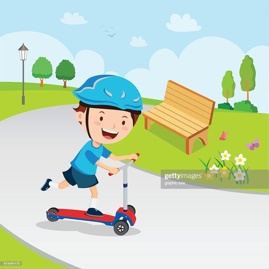 Boy learn to ride scooter