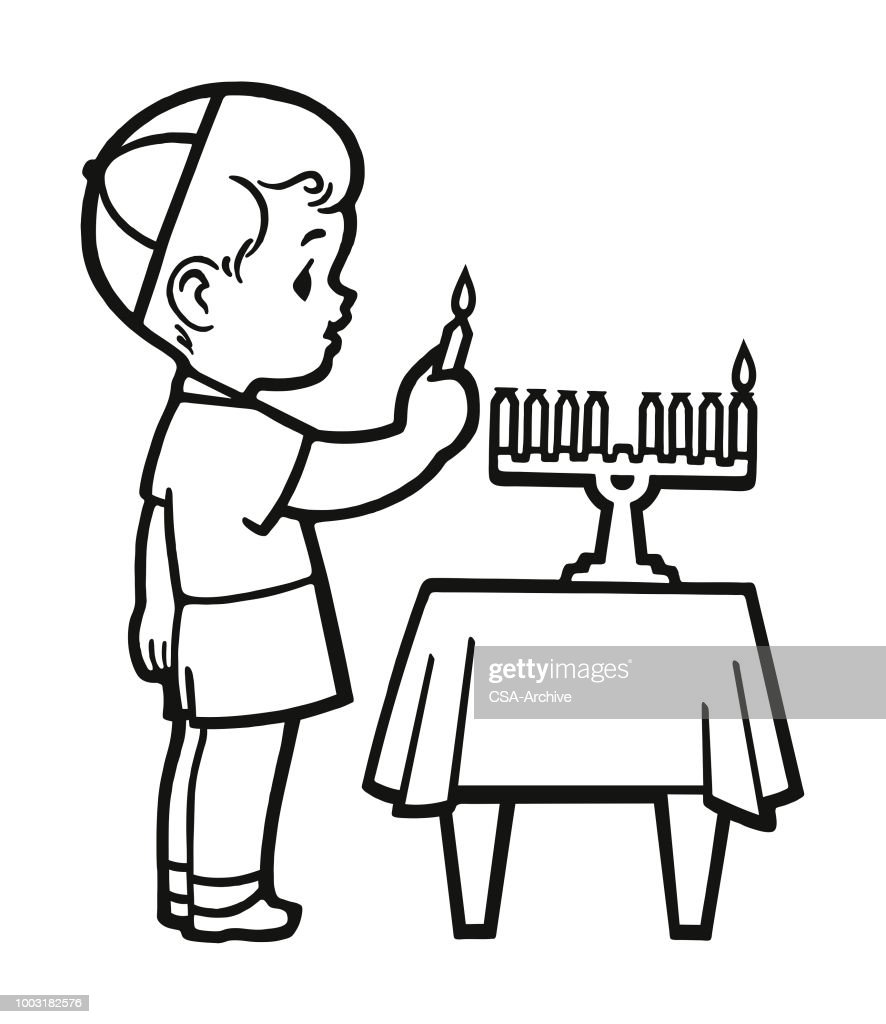 Boy Lighting a Candle on a Menorah : stock illustration