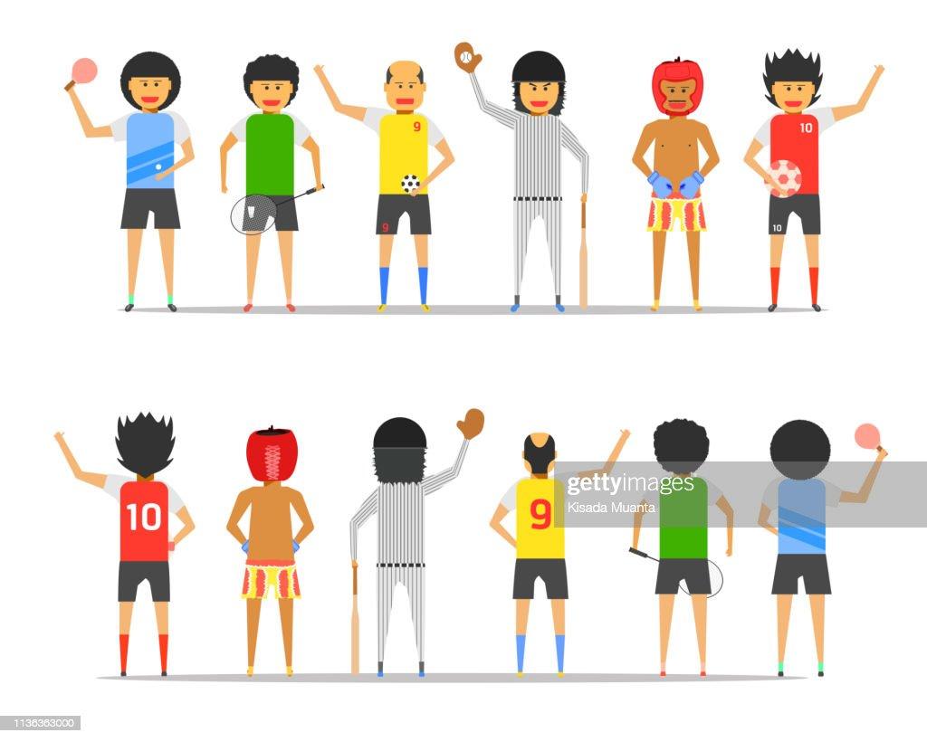 boy man group friendship sport together front-back view vector illustration ep10