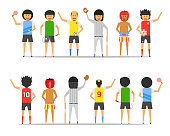 boy man group friendship sport together front-back view vector illustration ep10