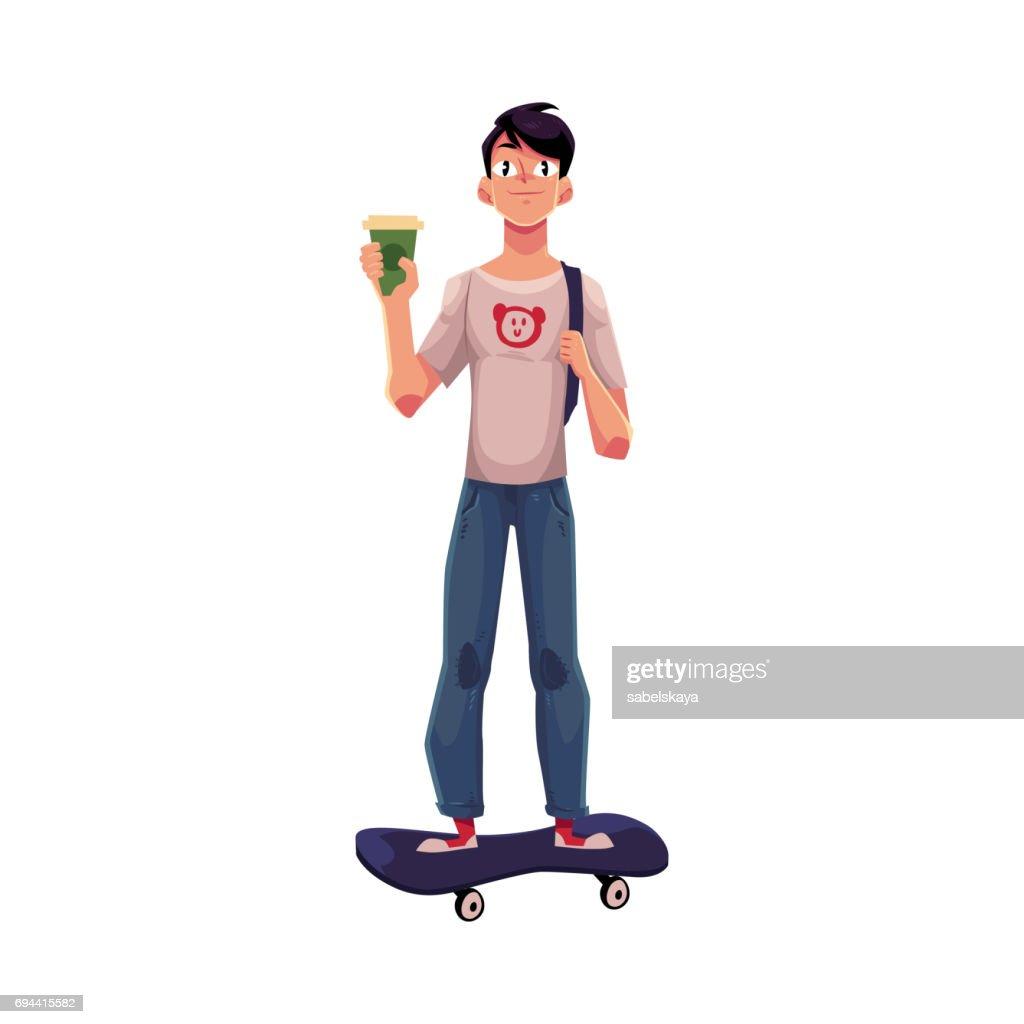 Boy, man standing on skateboard, longboard with paper coffee cup