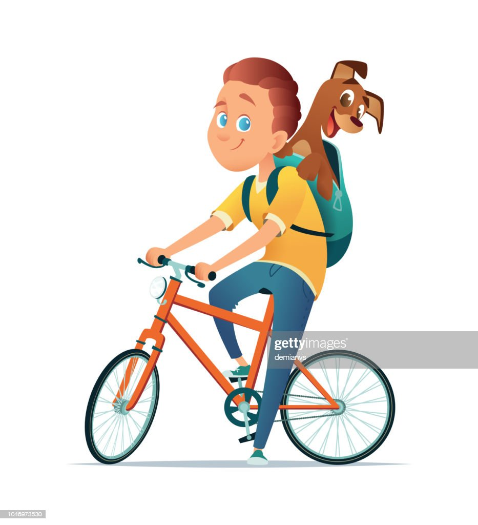 Boy on bicycle with a dog. Friendship of the child and the dog. Vector illustration.