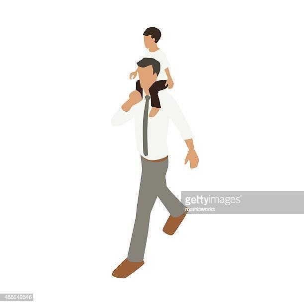 Boy on father's shoulders illustration