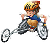 Boy on racing wheelchair