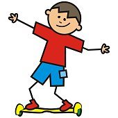 boy on the electric scooter, funny vector illustration