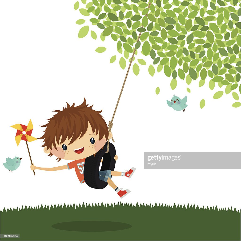 Boy play swing summer happy kid cute vector illustration