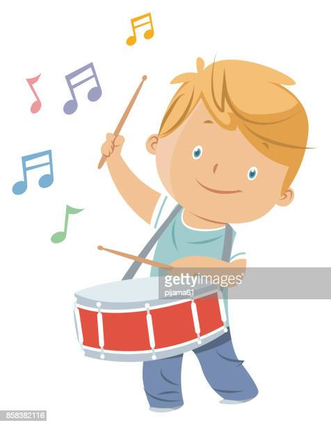 boy playing drum - drum percussion instrument stock illustrations, clip art, cartoons, & icons