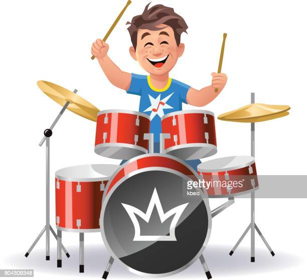 boy playing drums - drum percussion instrument stock illustrations, clip art, cartoons, & icons